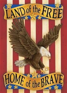 Land Of The Free Patriotic Decorative House Flag by Custom Decor