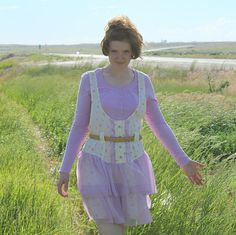 Womens Jumper Dress Yellow Print with Lavender by SeamsVictorian, $60.00