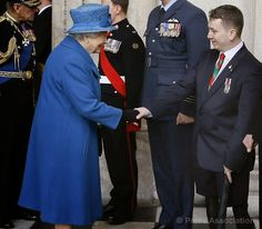 The Queen meets veterans during the Afghanistan Service at St Paul's Cathedral to remember the 453 servicemen and women who died in Afghanistan, 13 March 2015.