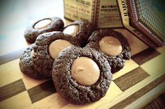 Eggless Chocolate Caramel Thumbprint Cookies - Good with whole wheat flour and sprinkled with kosher salt