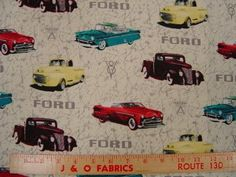 Ford Trucks and Cars Fabric Car Fabric, Ford Girl, Ford Trucks, 9 And 10, Hot Rods, Quilt Patterns, Classic Cars, Quilting, Sewing