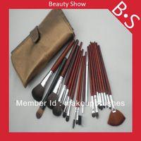 19pcs profesionales Privado maquillaje Etiquetado Sistema de cepillo / kit , Belleza / Mejor de cepillo cosmético , bolsa de cuero excelente
