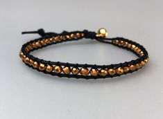 Playful beaded bracelet with beads in gold on black cotton cord, friendship bracelet, handmade, boho chic Handmade Bracelets, Handmade Gifts, Handmade Jewelry, Wrap Bracelets, One More Step, Boho, Trending Outfits, Unique Jewelry, Etsy Seller