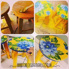 O blog da Mari: Como decorar um banquinho de madeira