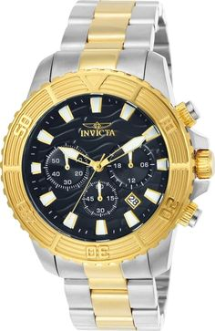 a954d033673d0 Invicta 24003 Men s Pro Diver Chronograph Black Dial Two Tone Bracelet Watch