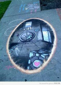 Portal, dibujo hecho con tizas