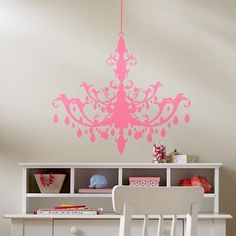 The Land of Nod | Kids' Wall Decals: Kids Pink Chandelier Wall Decal in Wall Decals