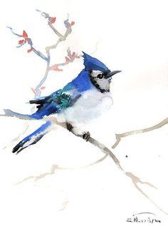 Blue Jay, Original watercolor painting, 12 X 9 in, blue bird watercolor art, watercolor painting
