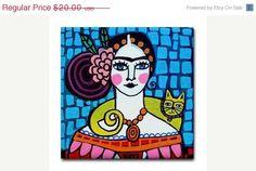 50 % de réduction - carreaux de céramique de l'Art populaire mexicain - Frida Kahlo jaune Cat Art - mexicain Talavera carreaux cadeau COASTER - anniversaire bleu rose