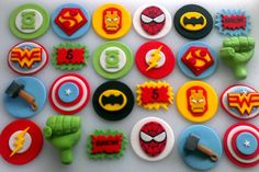 Avengers & Justice League Superhero Cupcake Toppers by CheekyCaker, $25.00