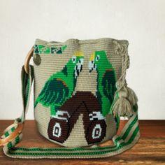 Woven Handmade Mochila Bag | Exclusive | Green Parrot Tapestry Bag, Tapestry Crochet, Weaving Techniques, Parrot, Artisan, Green, Pattern, Handmade, Crochet Bags