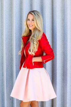 red leather jacket and pink full skirt