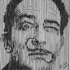 Striped portrait of Salvador Dali Uniposca on canvas 50x50
