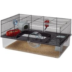 Ferplast Favola Gerbil Hamster or Mouse Cage Black Syrian Hamster Cages, Large Hamster Cages, Gerbil Cages, Best Hamster Cage, Cage Rat, Pet Cage, Hamster Habitat, Hamster Care, Russian Dwarf Hamster