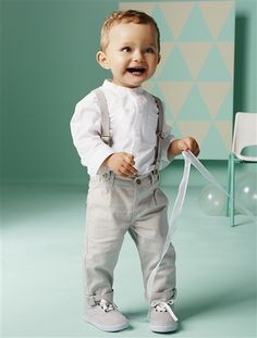 Conjunto de camisa + pantalón bebé niño BLANCO CLARO LISO - vertbaudet enfant