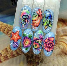 Coffin Nails Designs Summer, Beach Nail Designs, Nail Art Designs Videos, Nail Art Videos, Summer Acrylic Nails, Summer Nails, Beach Themed Nails, Gel Set, Sea Nails