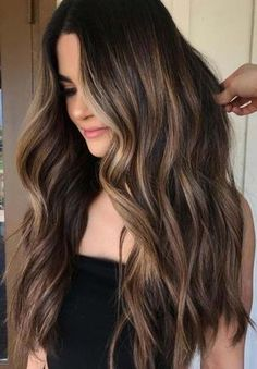 25 Balayage Hair Color Ideas for Black Hair in Balayage is a French word s. - - 25 Balayage Hair Color Ideas for Black Hair in Balayage is a French word signifying & clear& or & paint& It takes into acco. Black Hair With Highlights, Hair Color For Black Hair, Cool Hair Color, Balyage For Black Hair, Black Hair To Balayage, Black Hair With Ombre, Summer Hair Colour, Brown Hair, Sun Kissed Highlights