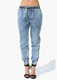 Stonewashed elastic banned cuff jeans...yay or nay??