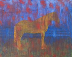 Acrylic 50 x 60 cm. Work in colors and a horse silouette. Gabriela Boiero Sutter