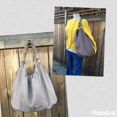 ELLIOTT LUCCA Gray Leather Hobo Style Chain Tote Purse Bag Medium Size  | eBay