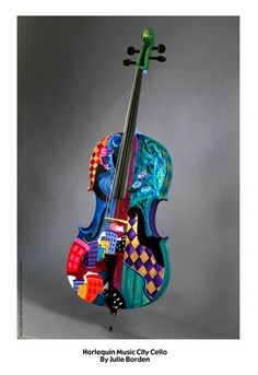 Custom hand Painted Cello musical instruments created by artist Julie Borden of Juleez. Cello music gifts, string music gifts, custom painted cello musical instruments featuring the best colorful music art. Cello Art, Cello Music, Art Music, Music Decor, Guitar Art, Cool Violins, Cool Guitar, Guitar Pics, Music Crafts