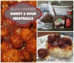 Easy and so delicious Sweet & Sour slow cooker meatball recipe. Set it, forget it and enjoy a nice meal in a few hours.