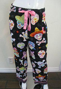 Nick & Nora Pajama Pants Flannel XL Women's Sugar Skull Dia De Los Muertos
