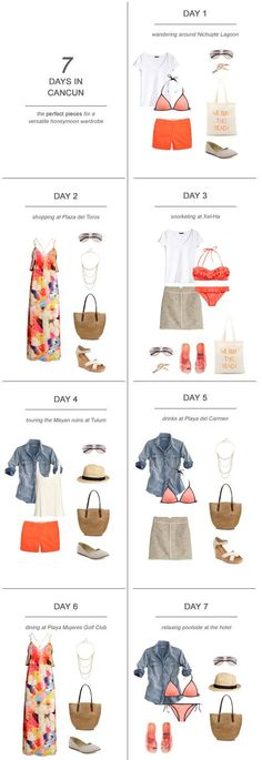 7 Days in Cancun : The Perfect Pieces for a Versatile Honeymoon Wardrobe One of the hardest parts about planning the honeymoon is figuring out what to pack! Here's my tips and suggestions on packing for 7 days in Cancun: Cancun Outfits, Mexico Vacation Outfits, Honeymoon Outfits, Cancun Vacation, Vacation Packing, Travel Packing, Beach Vacations, Packing Lists, Travel Tips