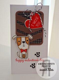 Card by Susan Liles. Reverse Confetti stamp set: Puppy Love. Confetti Cuts: Puppy Love and Pretty Panels Big Chevron. Valentine's Day.