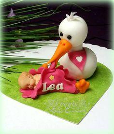 Fondant cake topper stork baby welcome girl heart Kuchen Aufleger Torte Storch Willkommen Lea