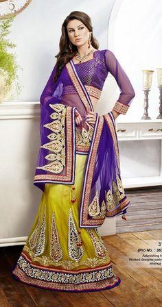 SareeStudio Shaded Yellow Purple Bridal Wear Embroidery Stone Work Net Lehenga
