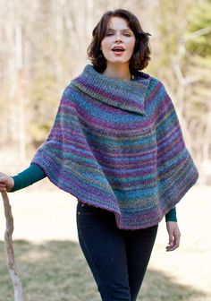 Free knitting pattern for Flutterwheel Poncho - Berroco designed this split cowl neck poncho that is knit in two pieces. Knitting Machine Patterns, Poncho Knitting Patterns, Shawl Patterns, Knitted Poncho, Knitted Shawls, Crochet Scarves, Knitting Yarn, Free Knitting, Finger Knitting