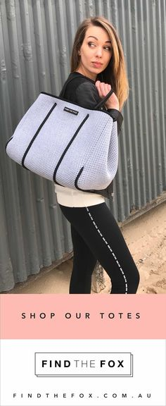 Shop our stylish neoprene tote bags by Find The Fox. Light, carefree, washable and 100% vegan. Get the Fox Bag in Grey with a free matching neoprene zip up pouch. Shop now at https://findthefox.com.au ✨