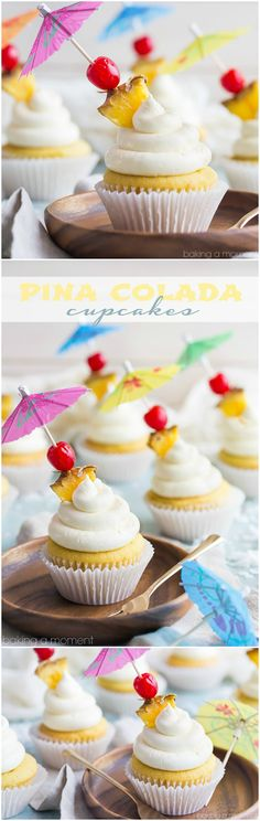 Colada Cupcakes- just like my favorite tropical cocktail! The pineapple and coconut flavors really shine in this recipe :)Pina Colada Cupcakes- just like my favorite tropical cocktail! The pineapple and coconut flavors really shine in this recipe :) Pina Colada Cupcakes, Pineapple Cupcakes, Hawiian Cupcakes, Pineapple Desserts, Cupcake Recipes, Baking Recipes, Cupcake Cakes, Dessert Recipes, Cheesecake Desserts