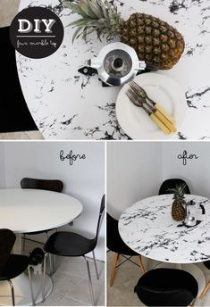 DIY Faux Marble Table Top on an IKEA DOCKSTA table using marble contact paper #iKEAHack #DIY