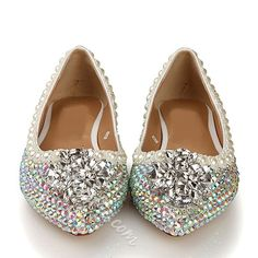 Colorful Rhinestone Pearls Point Toe Boat Shoes