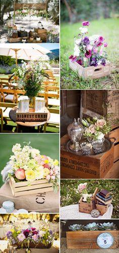 wooden crate/box. caja de madera. wedding. boda. decoration. decoración. flowers. flores . party. fiesta.  outdoor