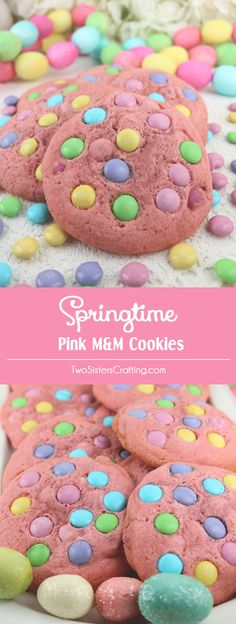 Springtime Pink M&M Cookies - soft, chewy, chock full of M&M's and they taste as good as they look. An easy and colorful Easter Dessert, Spring Cookie or Mother's Day treat. Pin this yummy Easter Cookie for later and follow us for more Easter Food ideas.