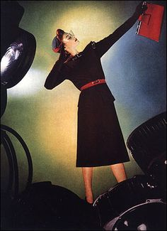 Modern Black Ensemble with Matching Accessories Featured in Vogue, 1939