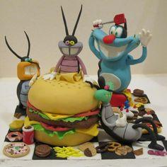 #Topper di #Oggy e i maledetti #scarafaggi con #pizza #coca-cola #biscotti #hambuger e tanto altro cibo.