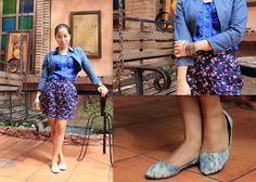 Floral on denim Denim Shoes, Denim Coat, Sammy Dress, High Waisted Skirt, Floral, Skirts, Blog, Tops, Dresses