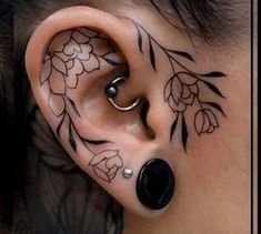 Ears are mostly adorned with piercings, and not tattoos. Just make sure that you choose the very best ear tattoo designs that can speak for Piercing Tattoo, Tattoo Femeninos, Get A Tattoo, Tattoo Music, Tiny Tattoo, In Ear Tattoo, Lobe Piercing, Peircings, Ankle Tattoo