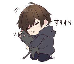 It is a cute sticker of Menhera-kun. Dibujos Anime Chibi, Cute Anime Chibi, Manga Cute, Cute Anime Guys, Kawaii Chibi, Anime Neko, Cute Anime Couples, Kawaii Anime, Manga Anime
