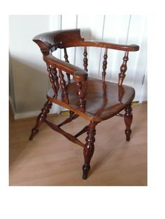 Nineteenth century English bow back chair restoration. Completely dismantled due to joints that had opened and become very loose. All joins cleaned, damage repaired and re assembled before refinishing.