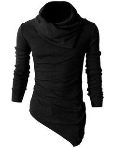 Mens Casual Turtleneck Slim Fit Pullover Sweater Oblique Line Bottom Edge (KMTTL046) #doublju