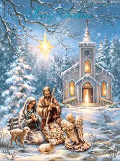 The Nativity Scene of Mary and Joseph and Baby Jesus with an angel and cute little lambs with a star of Christmas by the church Merry Christmas Gif, Christmas Scenery, Christmas Nativity Scene, Vintage Christmas Cards, Christmas Images, Christmas Art, Christmas Greetings, Winter Christmas, Jesus Born Christmas