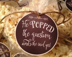 Pink and Gray Popcorn Favor He Popped the Question by ItsInviting