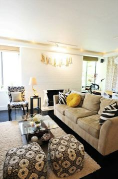 love the yellow and gray together, when I get tired of my living room it'll be on to this one!
