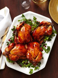 Dinner Party Menu Idea: Glazed Cornish Hens With Pomegranate-Rice Stuffing from #FNMag