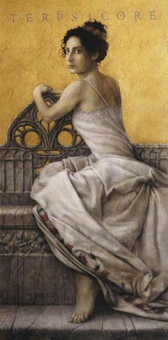 """Terpsicore, """"delight in dancing"""" was one of the nine Muses and goddess of dance and chorus.She lends her name to the word """"terpsichorean"""" which means """"of or relating to dance"""". She is usually depicted sitting down, holding a lyre, accompanying the ballerinas' choirs with her music."""